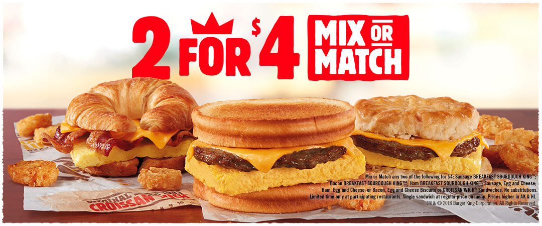 2 for $4 Mix or Match Breakfast